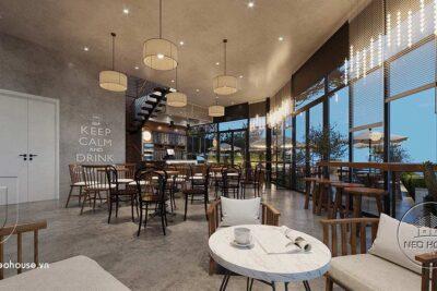 Thiết Kế Nội Thất Quán Cafe Sân Vườn Kết Hợp Máy Lạnh 18x10m – NT34