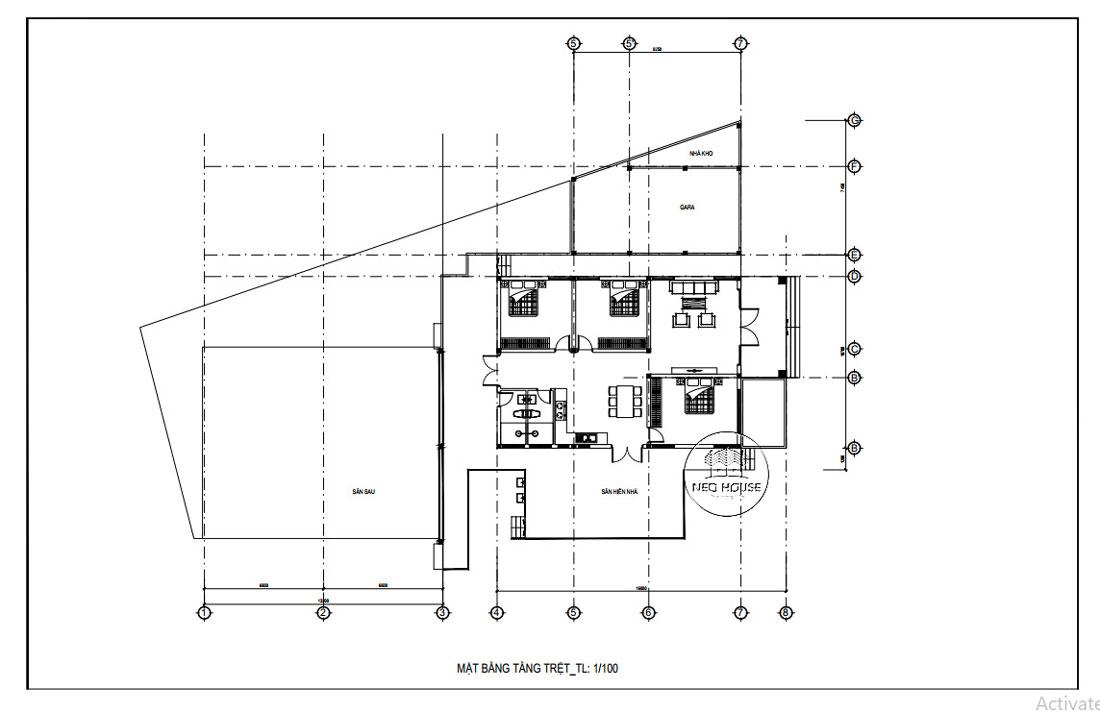 Bản vẽ mặt bằng nhà cấp 4 3 phòng ngủ hiện đại