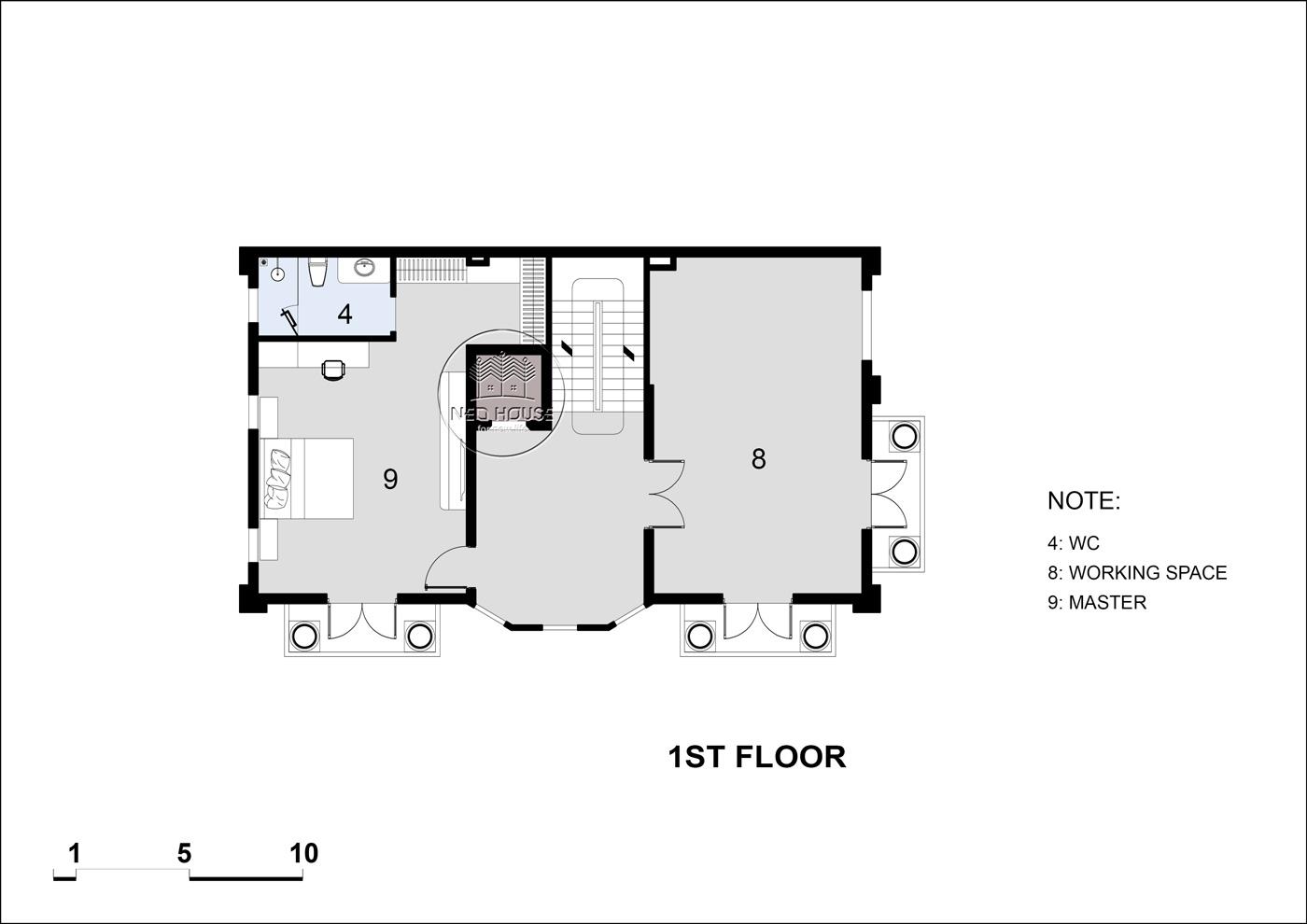 Mặt bằng tầng 2 biệt thự tân cổ điển 5 tầng