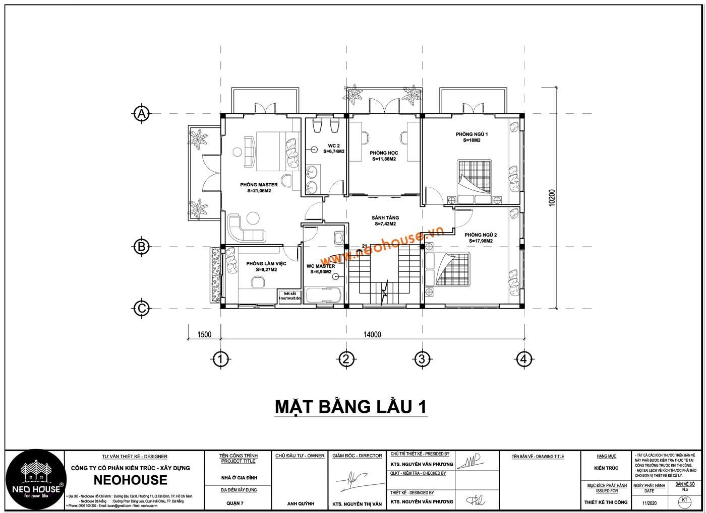 Mặt bằng lầu 1 biệt thự mái thái 2 tầng