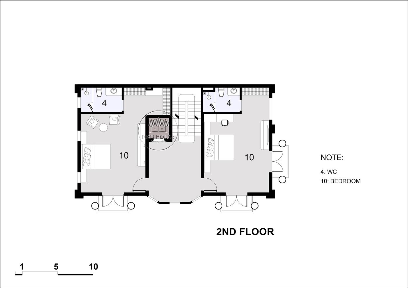 Mặt bằng tầng 3 biệt thự tân cổ điển 5 tầng
