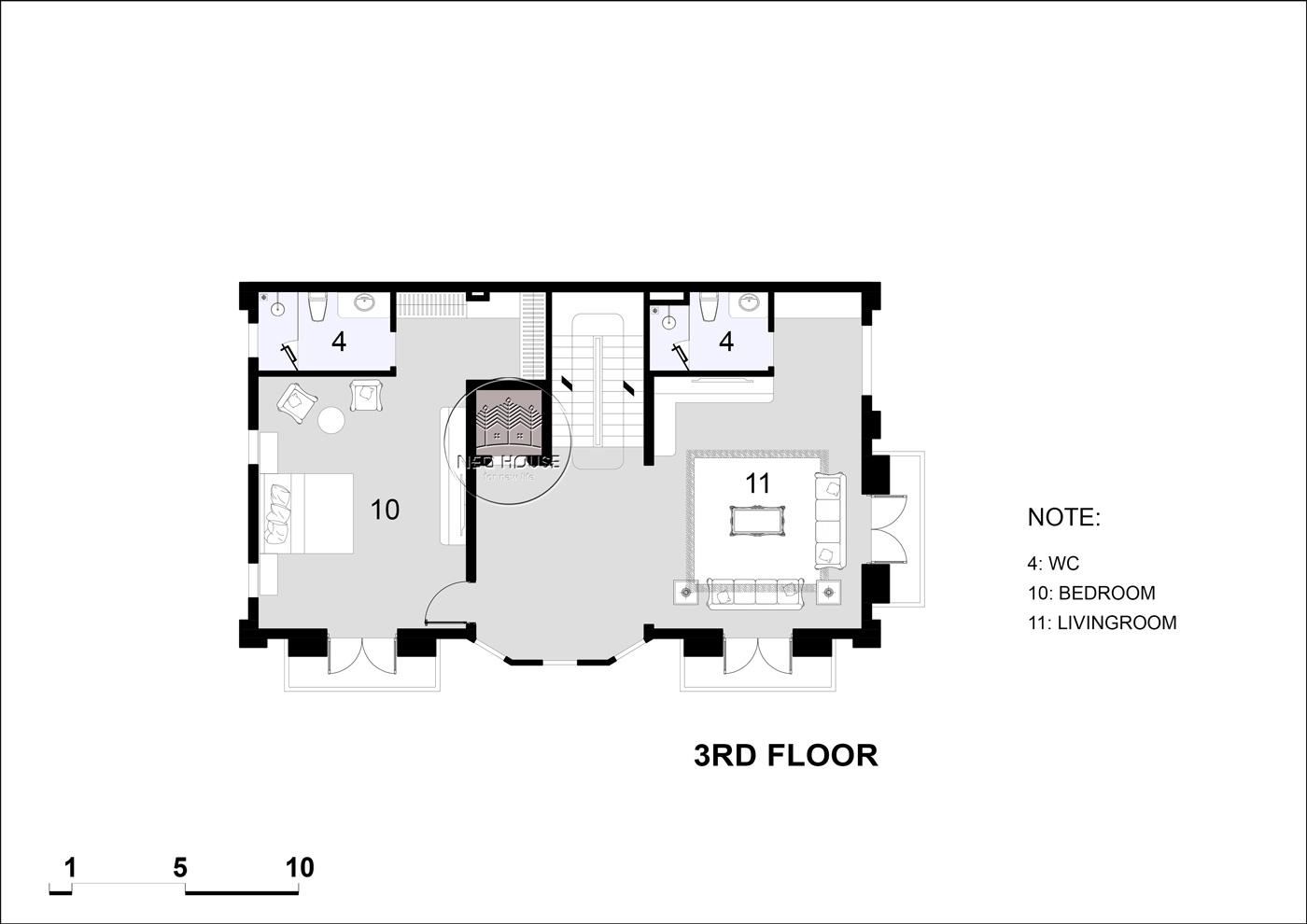 Mặt bằng tầng 4 biệt thự tân cổ điển 5 tầng