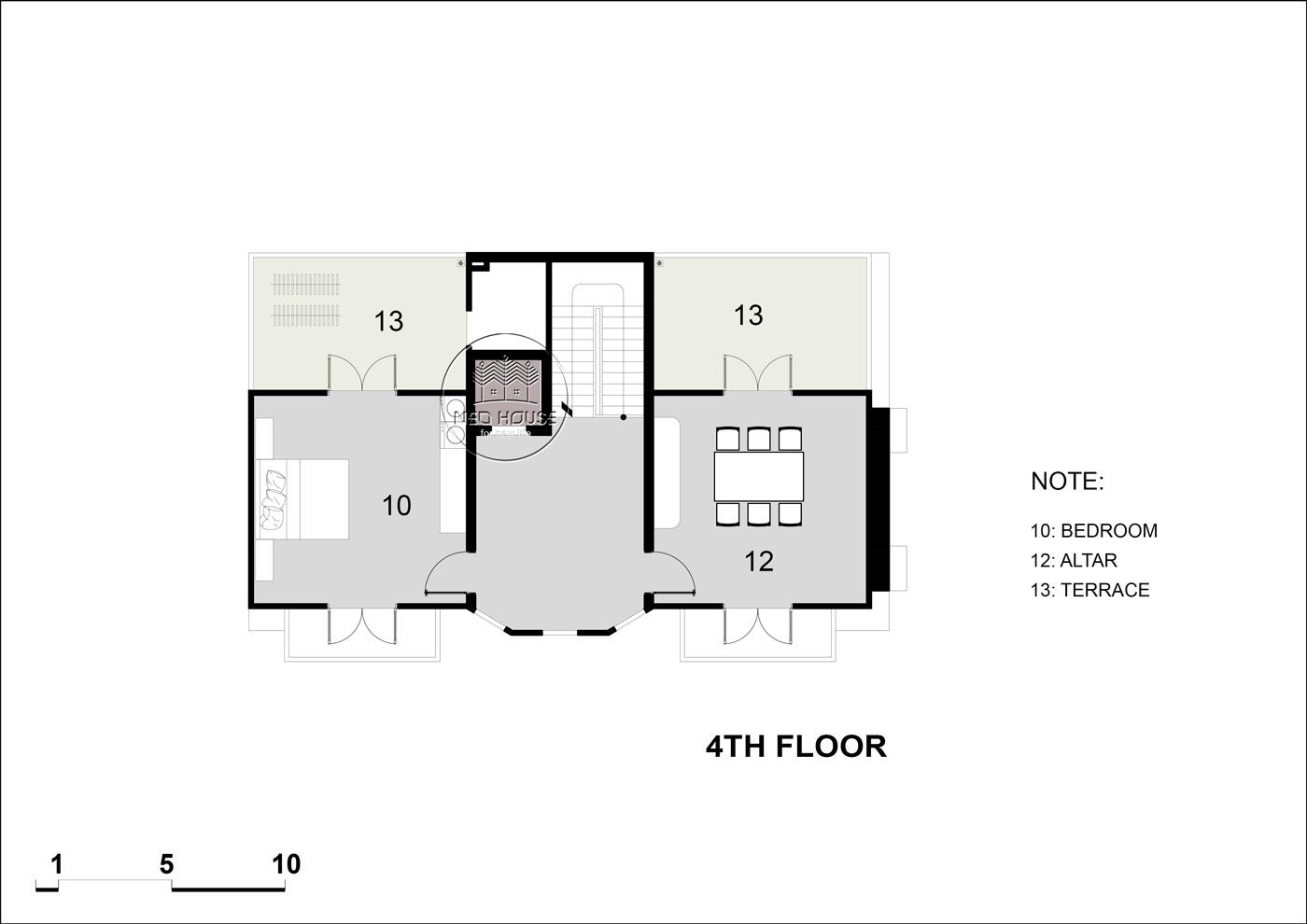 Mặt bằng tầng 5 biệt thự tân cổ điển 5 tầng