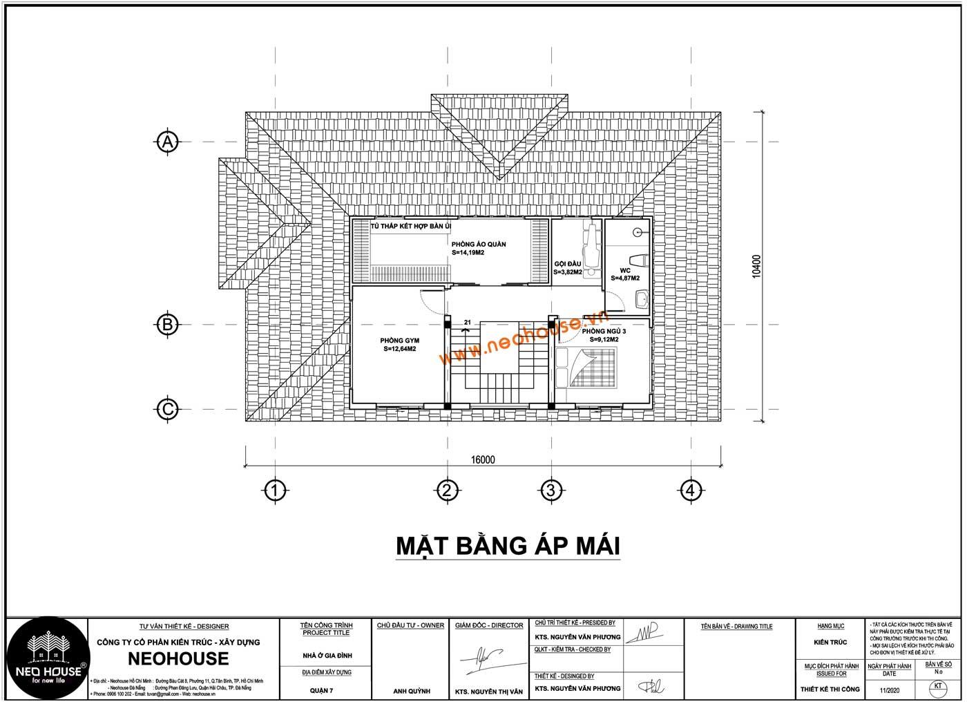 Mặt bằng tầng áp mái biệt thự mái thái 2 tầng
