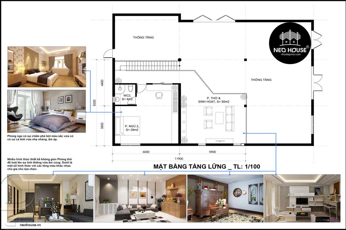 Mặt bằng tầng lửng mẫu nhà cấp 4 gác lửng đẹp 3 phòng ngủ