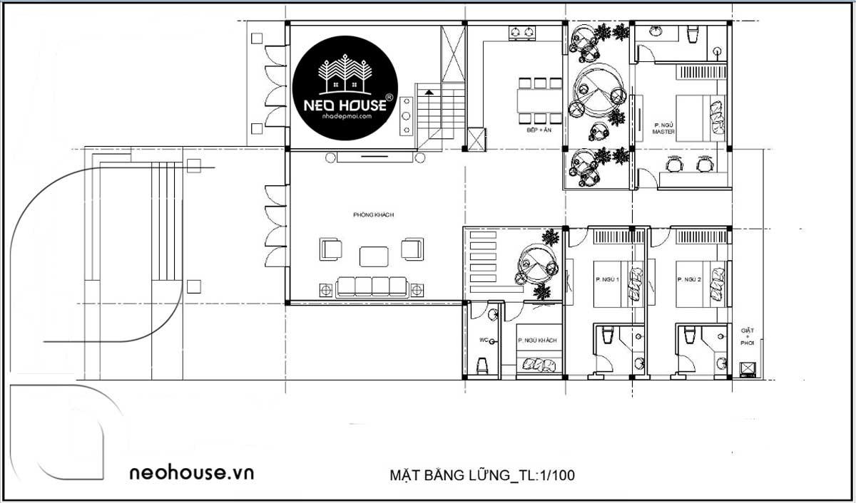 Mặt bằng tầng lửng nhà cấp 4 có gác lửng 3 phòng ngủ