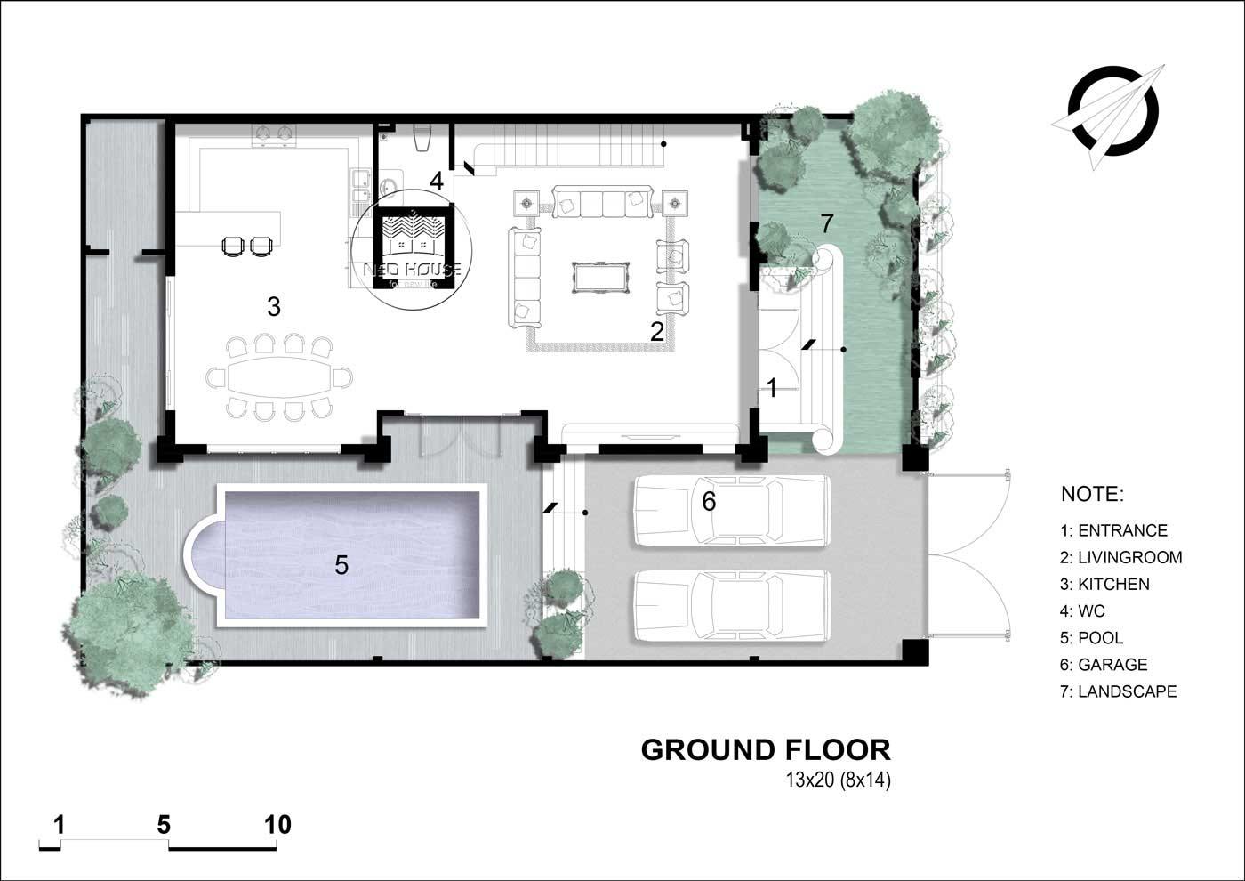 Mặt bằng tầng 1 biệt thự tân cổ điển 5 tầng
