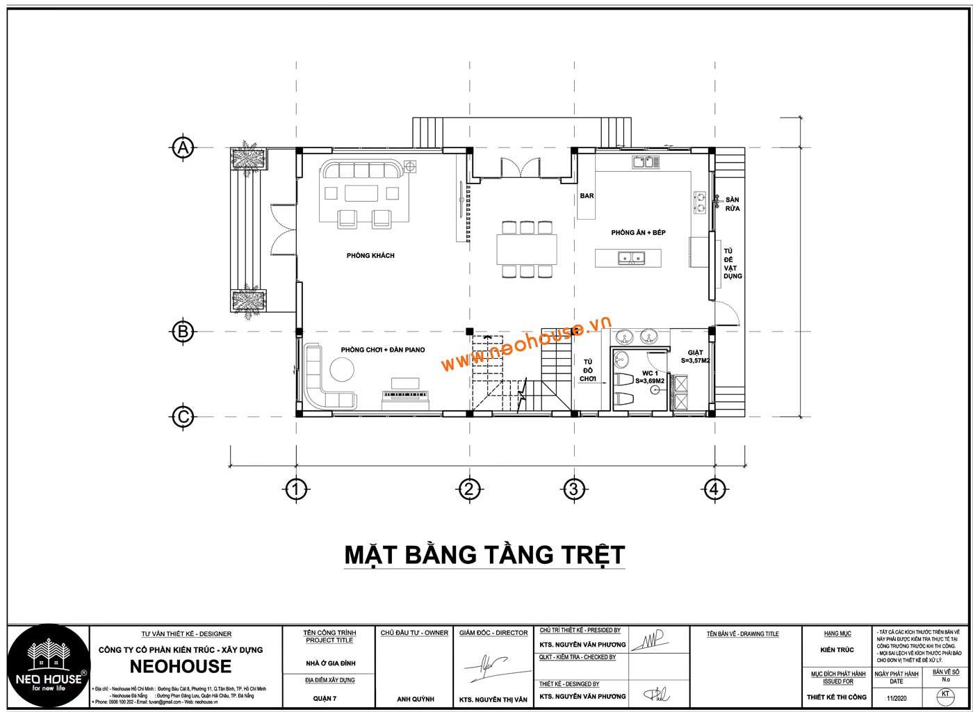 Mặt bằng tầng trệt biệt thự mái thái 2 tầng