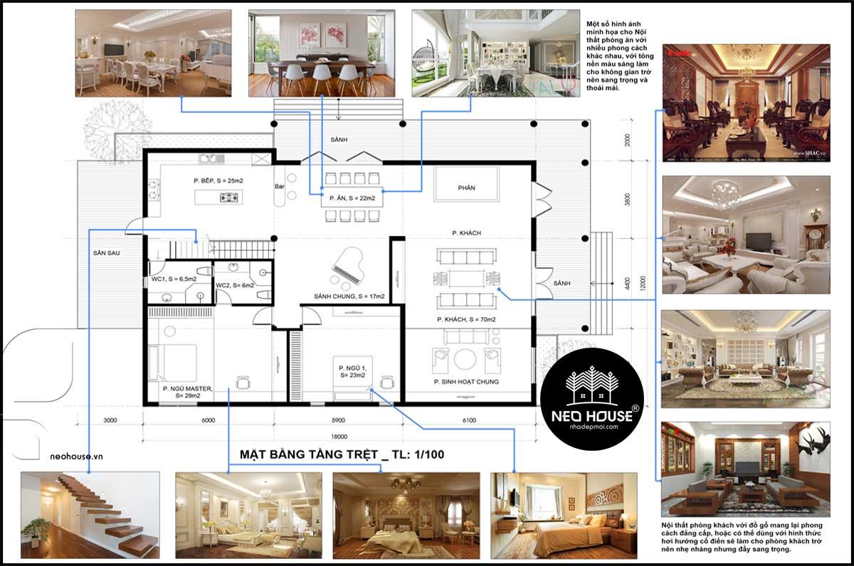Mặt bằng tầng trệt mẫu nhà cấp 4 gác lửng đẹp 3 phòng ngủ