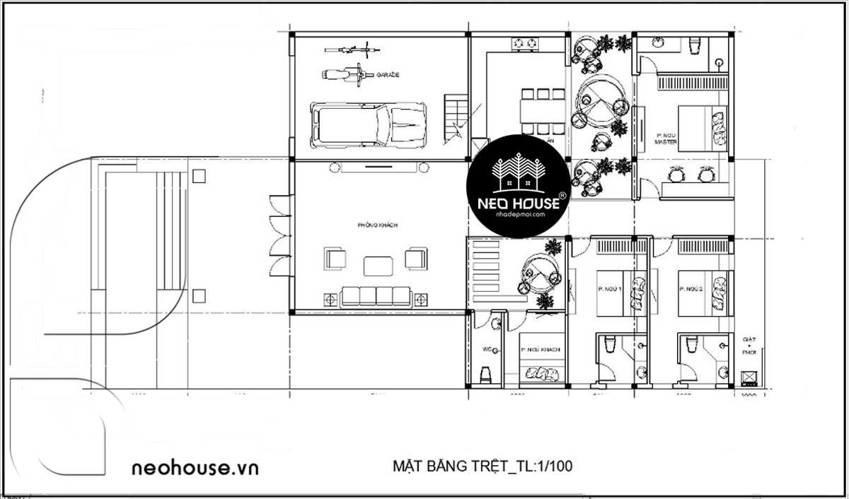 Mặt bằng tầng trệt nhà cấp 4 có gác lửng 3 phòng ngủ