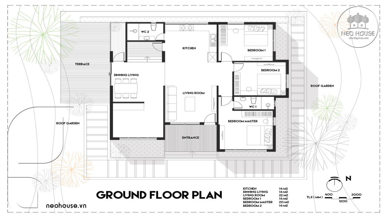 Mặt bằng thiết kế nhà cấp 4 có hồ bơi 3 phòng ngủ