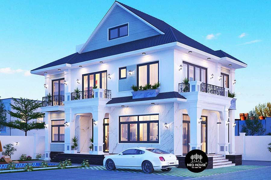 Thiết kế biệt thự mái thái 2 tầng đẹp. Ảnh bìa
