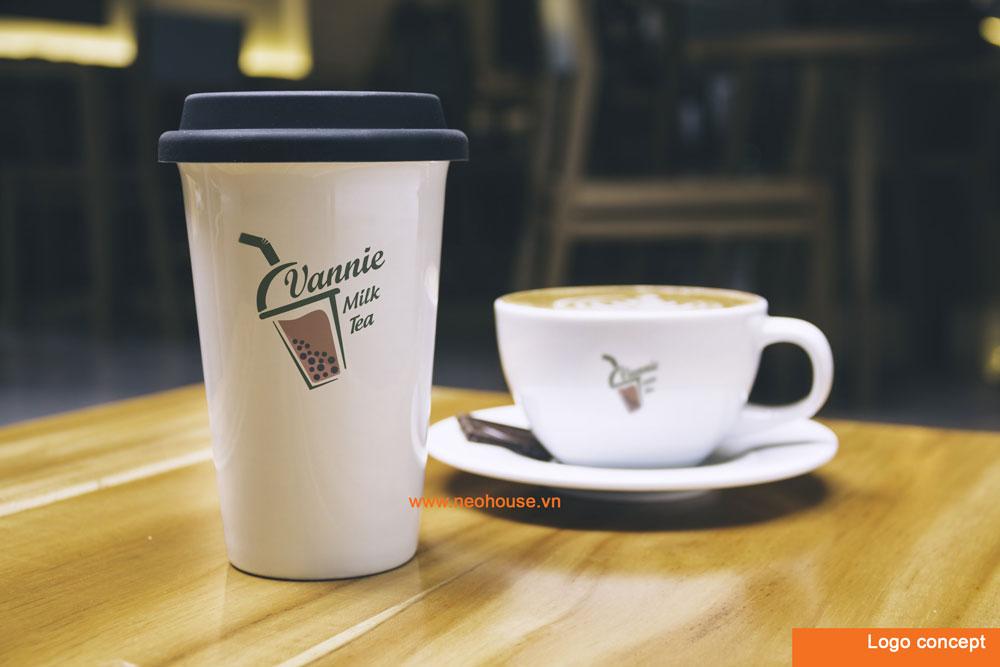 Phương án 1 thiết kế logo quán trà sữa hiện đại. Ảnh 1