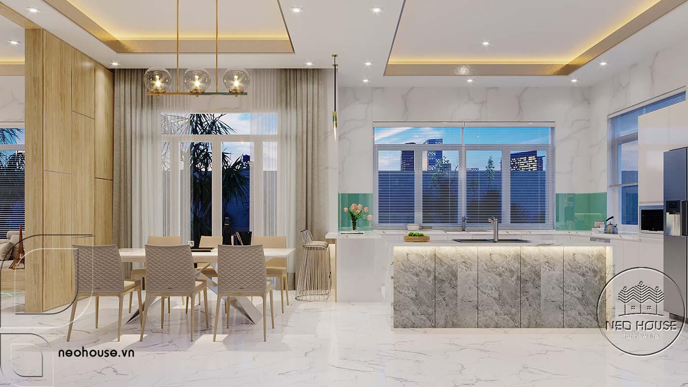 Thiết kế nội thất phòng bếp và bàn ăn biệt thự mái thái 2 tầng. Ảnh 2