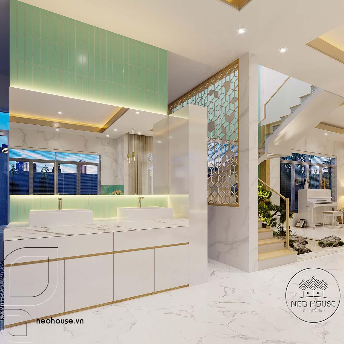 Thiết kế nội thất phòng bếp và bàn ăn biệt thự mái thái 2 tầng. Ảnh 3