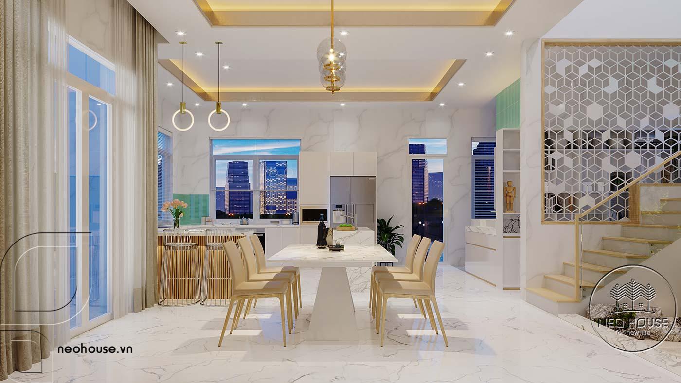 Thiết kế nội thất phòng bếp và bàn ăn biệt thự mái thái 2 tầng. Ảnh 1
