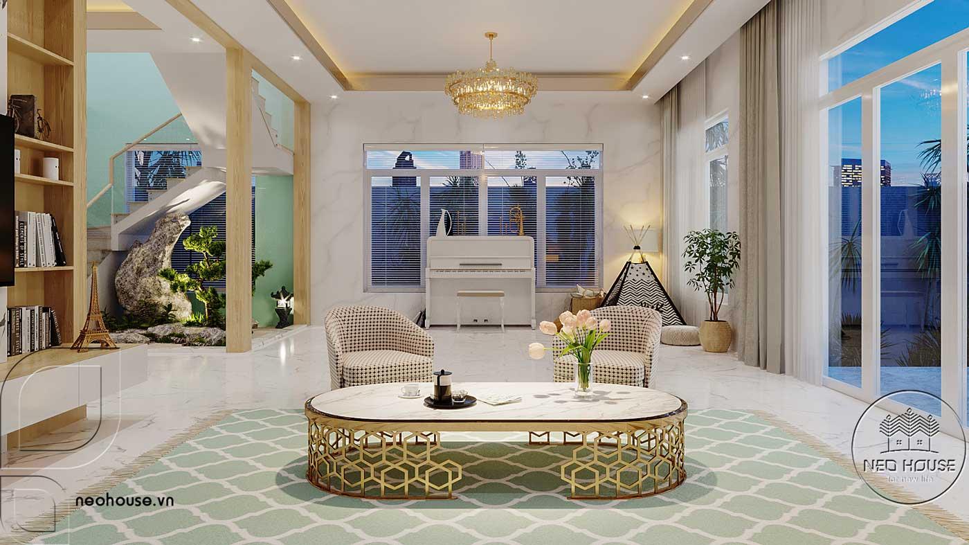 Thiết kế nội thất phòng khách biệt thự mái thái 2 tầng. Ảnh 2