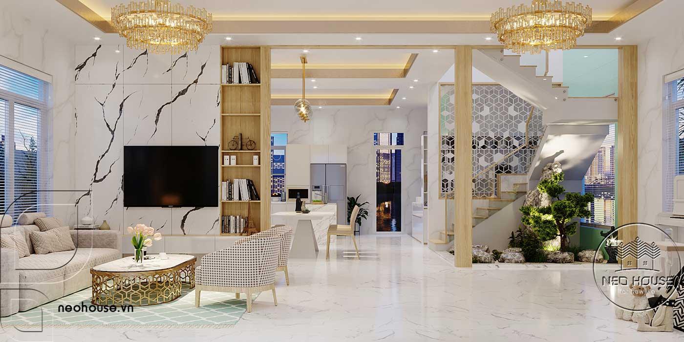 Thiết kế nội thất phòng khách biệt thự mái thái 2 tầng. Ảnh 1