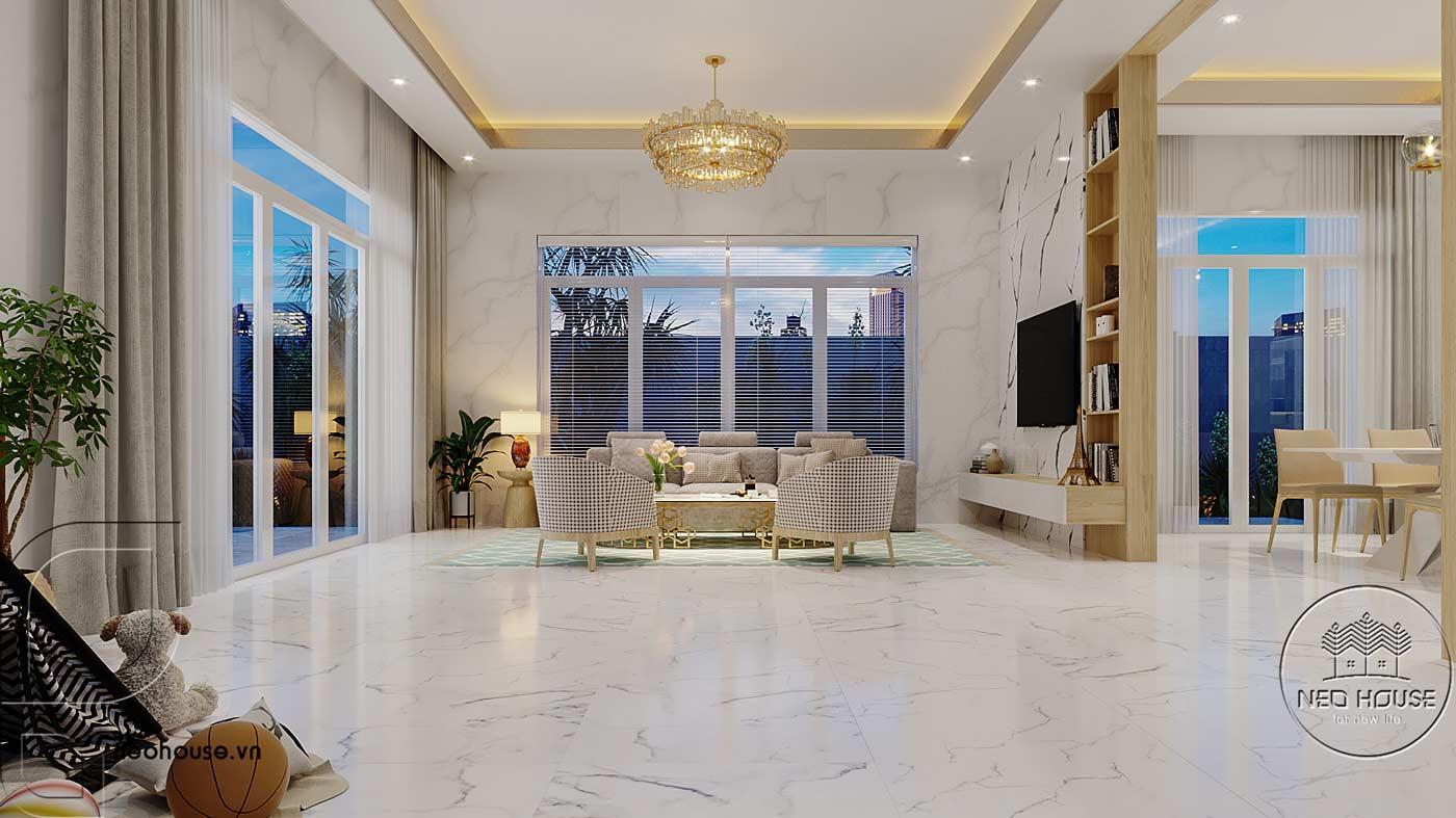 Thiết kế nội thất phòng khách biệt thự mái thái 2 tầng. Ảnh 3