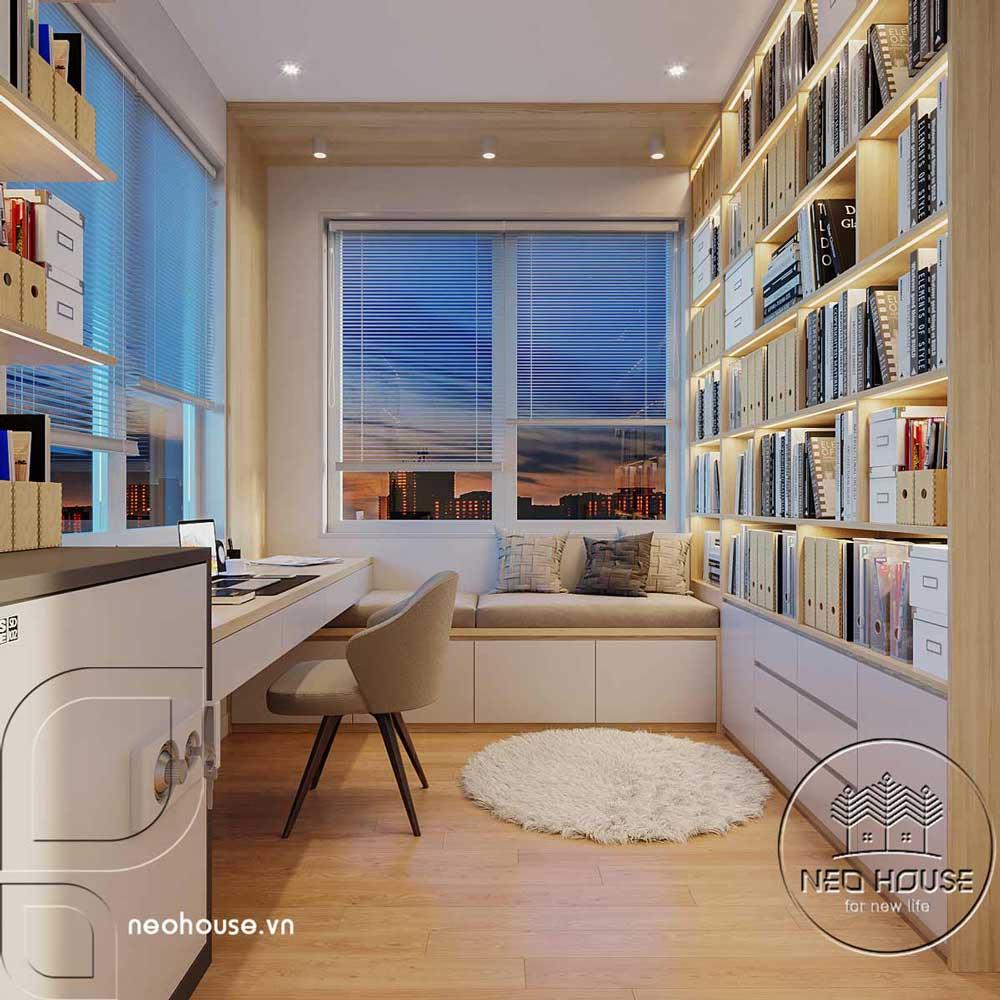 Thiết kế nội thất phòng làm việc biệt thự mái thái 2 tầng. Ảnh 2