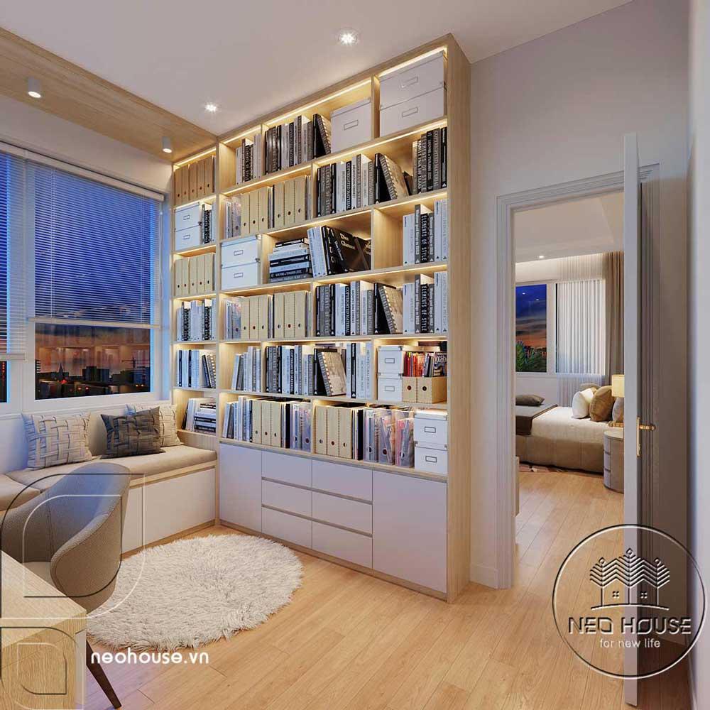 Thiết kế nội thất phòng làm việc biệt thự mái thái 2 tầng. Ảnh 3
