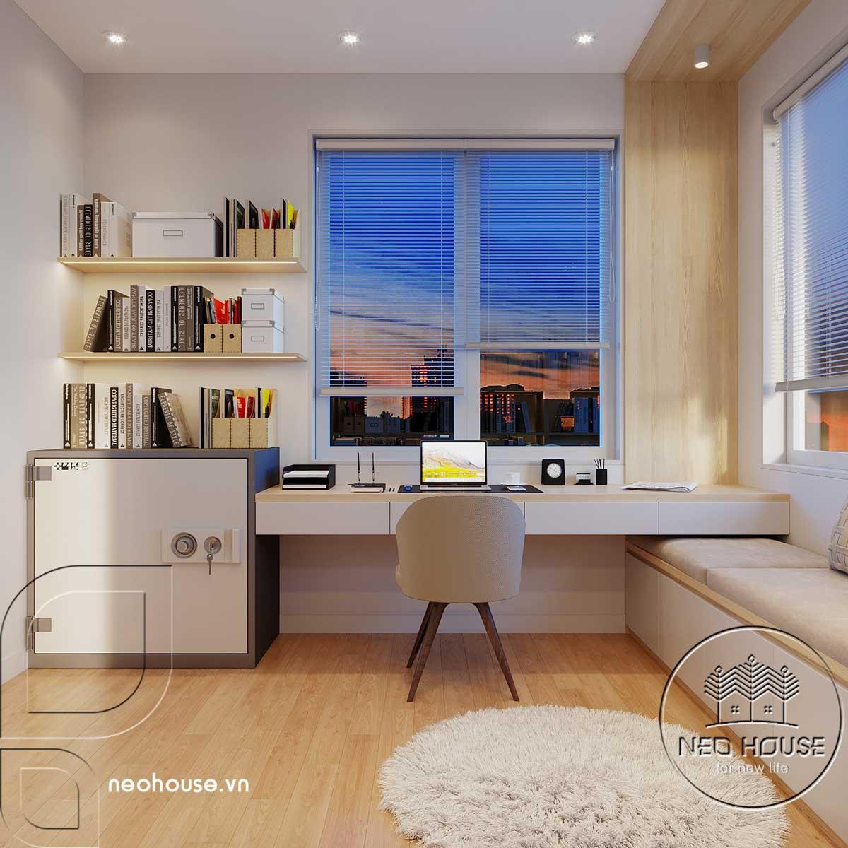 Thiết kế nội thất phòng làm việc biệt thự mái thái 2 tầng. Ảnh 1