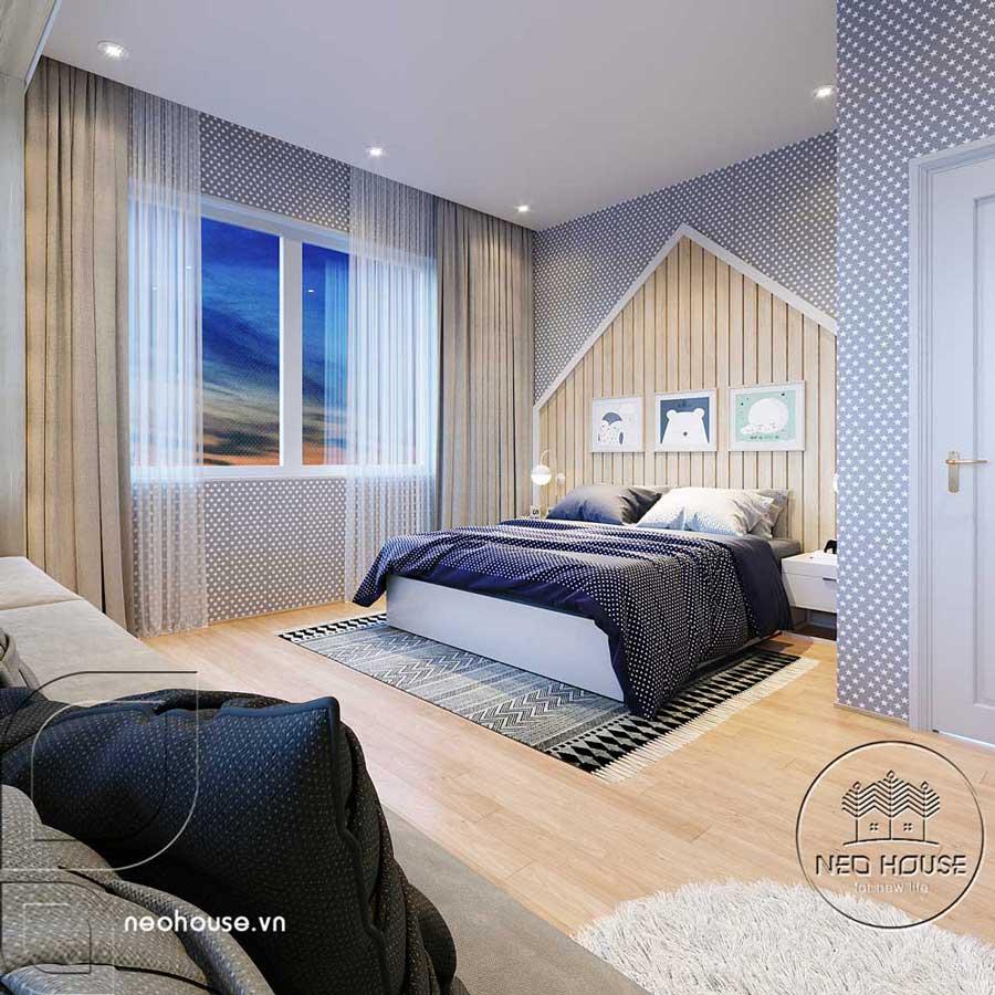 Thiết kế nội thất phòng ngủ bé trai biệt thự mái thái 2 tầng. Ảnh 1