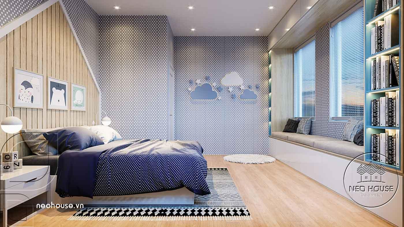 Thiết kế nội thất phòng ngủ bé trai biệt thự mái thái 2 tầng. Ảnh 3