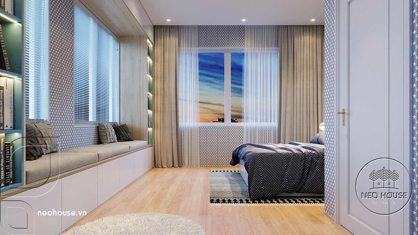 Thiết kế nội thất phòng ngủ bé trai biệt thự mái thái 2 tầng. Ảnh 2