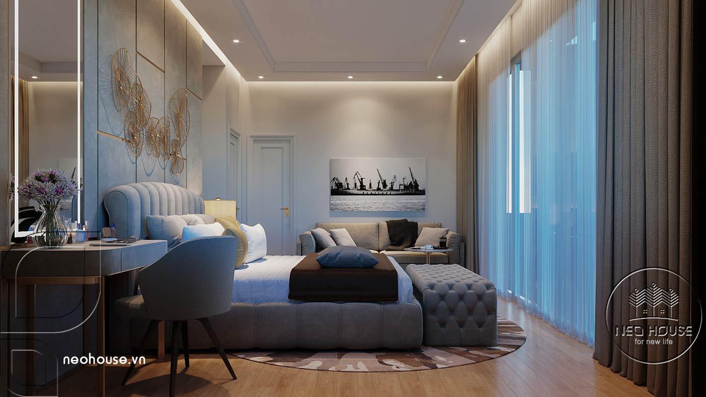 Thiết kế nội thất phòng ngủ Master biệt thự mái thái 2 tầng. Ảnh 3