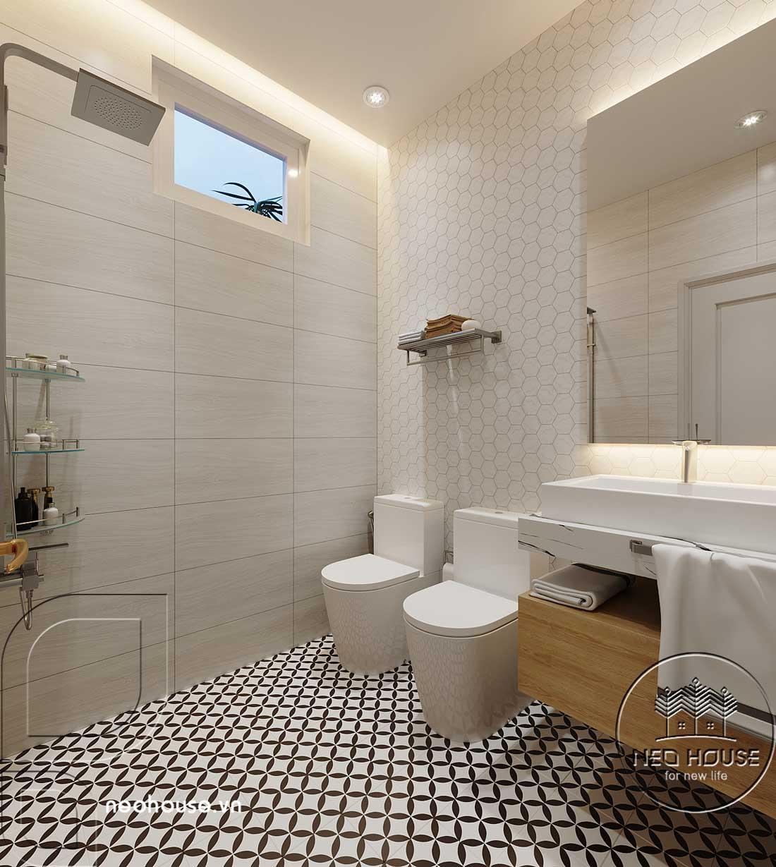 Thiết kế nội thất phòng vệ sinh biệt thự mái thái 2 tầng. Ảnh 2