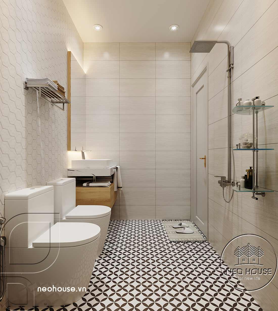 Thiết kế nội thất phòng vệ sinh biệt thự mái thái 2 tầng. Ảnh 1