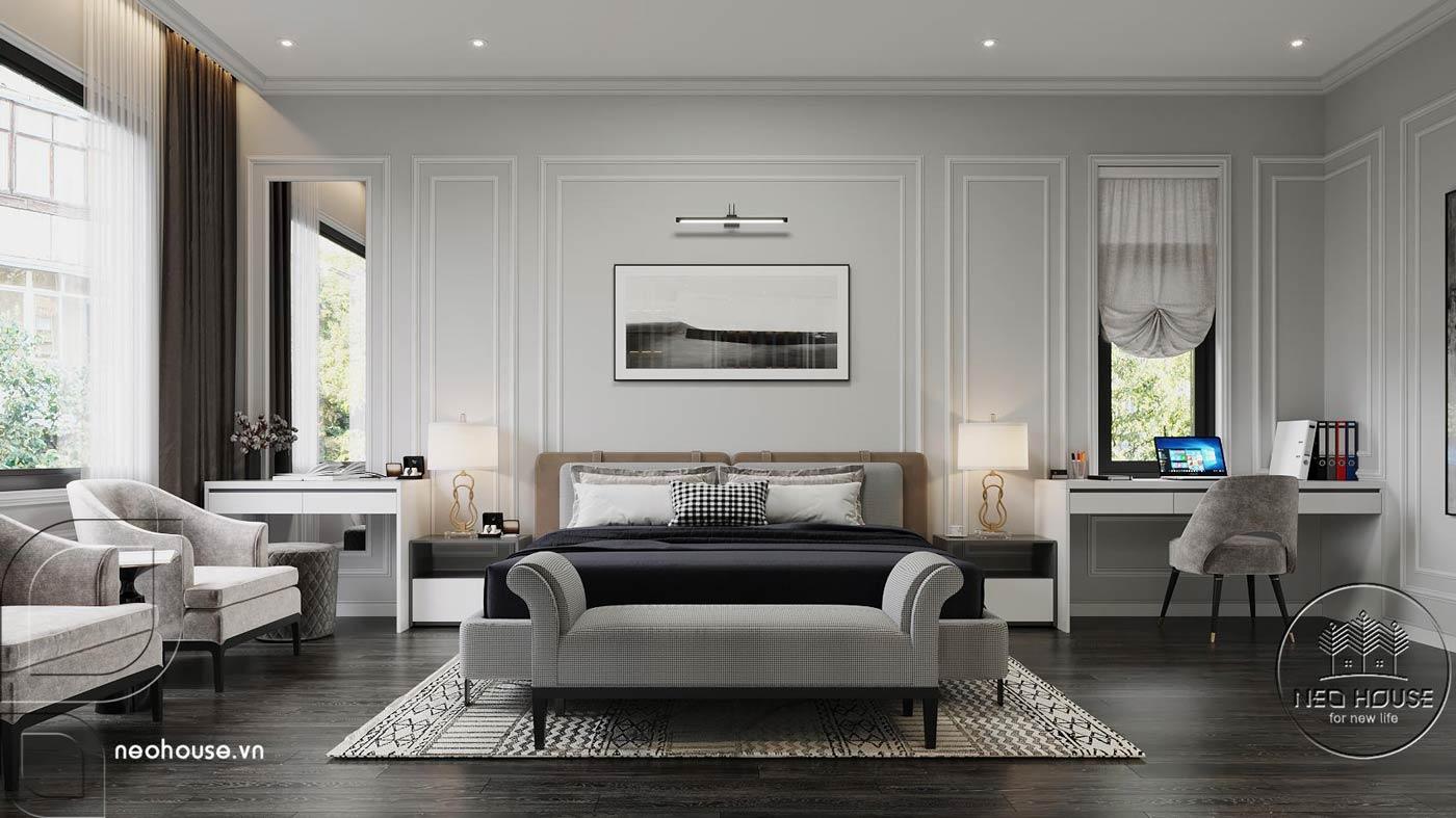 Phối cảnh thiết kế nội thất biệt thự tân cổ điển đẹp 4 tầng cho phòng ngủ Master 01. Ảnh 1