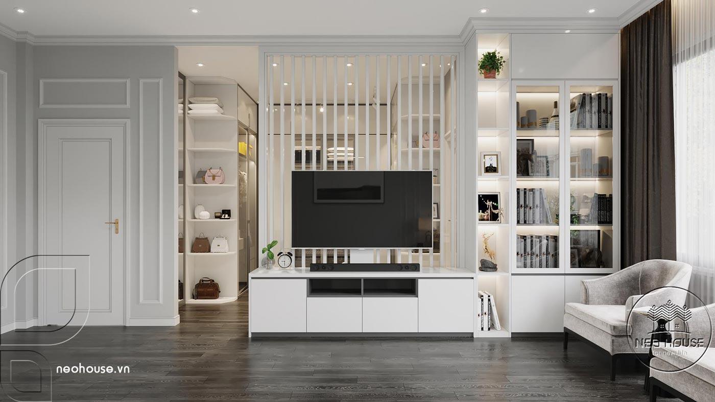 Phối cảnh thiết kế nội thất biệt thự tân cổ điển đẹp 4 tầng cho phòng ngủ Master 01. Ảnh 3