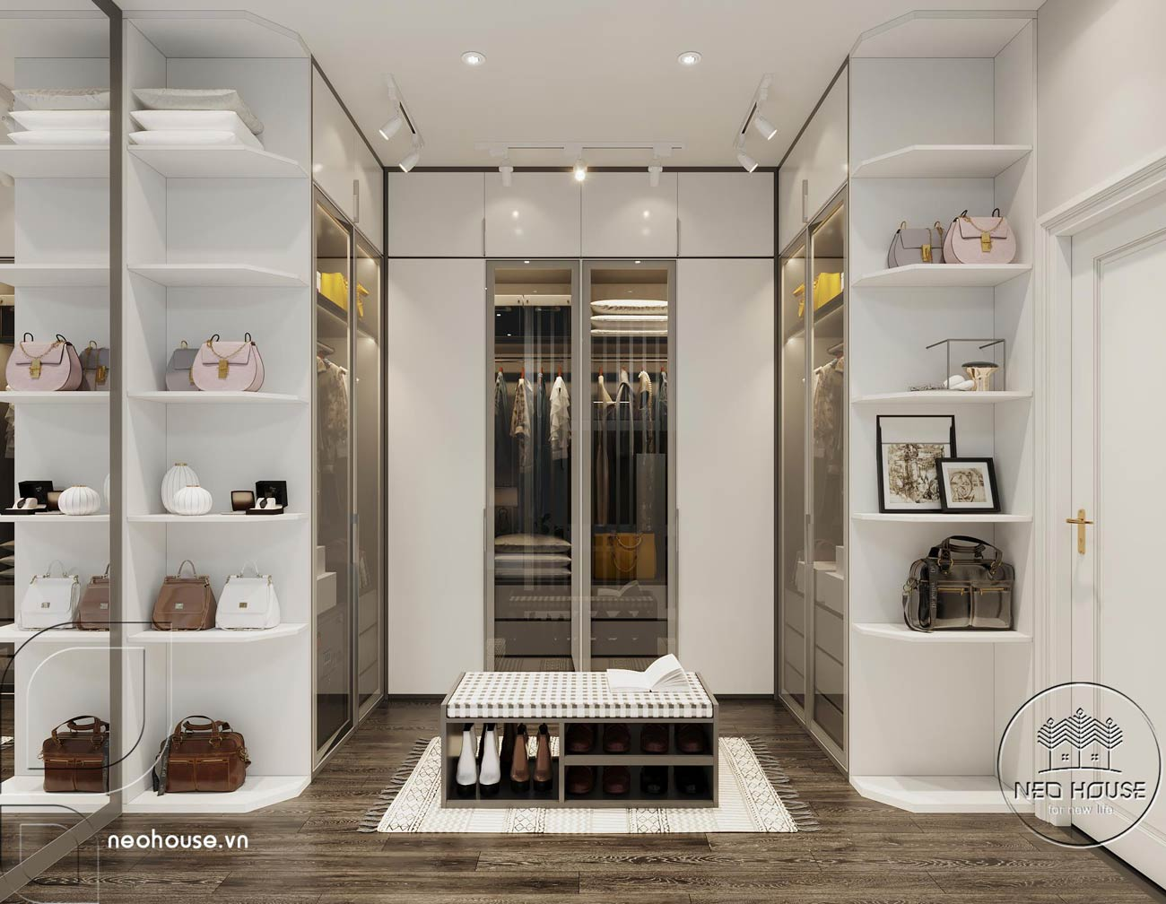 Phối cảnh thiết kế nội thất biệt thự tân cổ điển đẹp 4 tầng cho phòng ngủ Master 01. Ảnh 4