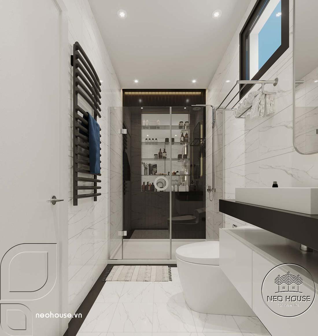 Phối cảnh thiết kế nội thất biệt thự tân cổ điển đẹp 4 tầng cho phòng tắm và nhà vệ sinh. Ảnh 1