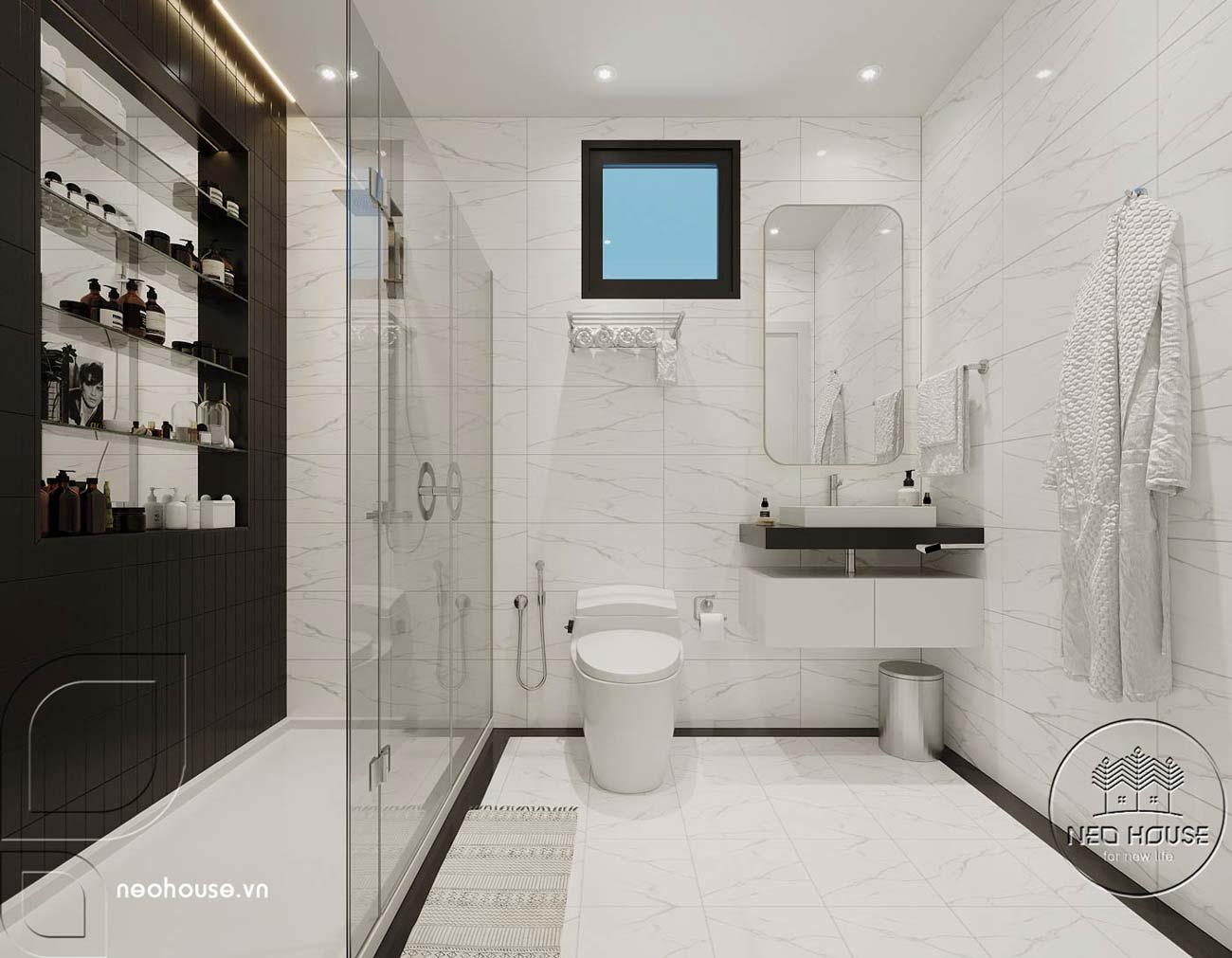 Phối cảnh thiết kế nội thất biệt thự tân cổ điển đẹp 4 tầng cho phòng tắm và nhà vệ sinh. Ảnh 2