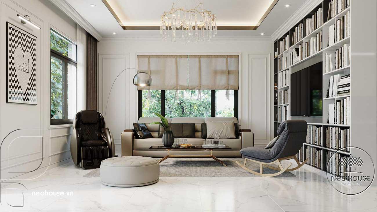 Phối cảnh thiết kế nội thất biệt thự tân cổ điển đẹp 4 tầng cho phòng sinh hoạt chung. Ảnh 1