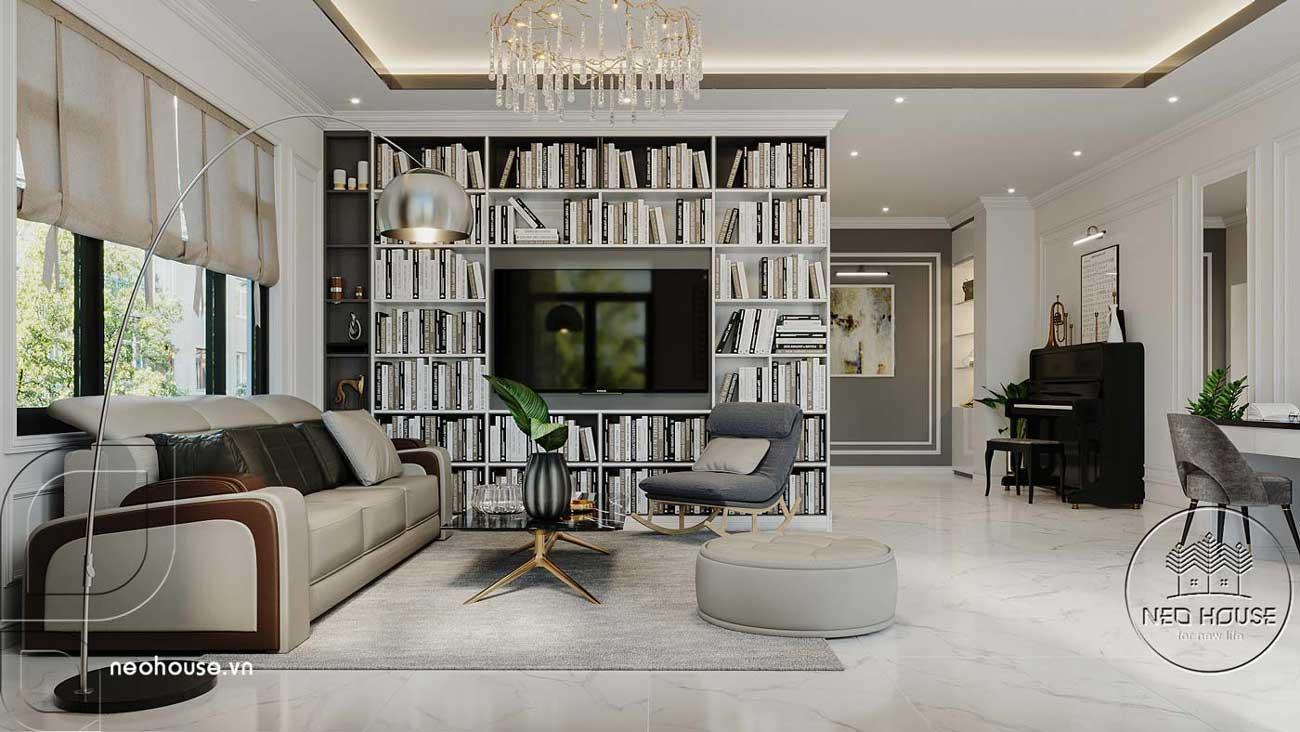 Phối cảnh thiết kế nội thất biệt thự tân cổ điển đẹp 4 tầng cho phòng sinh hoạt chung. Ảnh 2