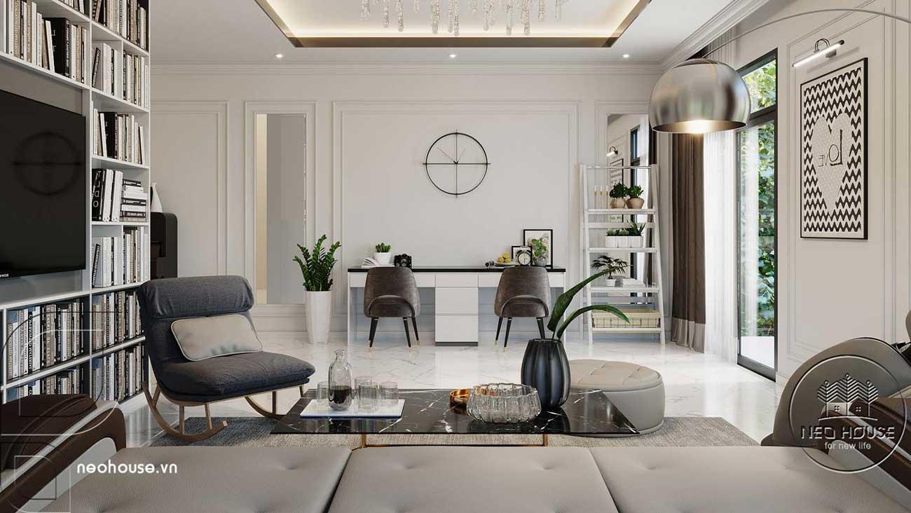 Phối cảnh thiết kế nội thất biệt thự tân cổ điển đẹp 4 tầng cho phòng sinh hoạt chung. Ảnh 3