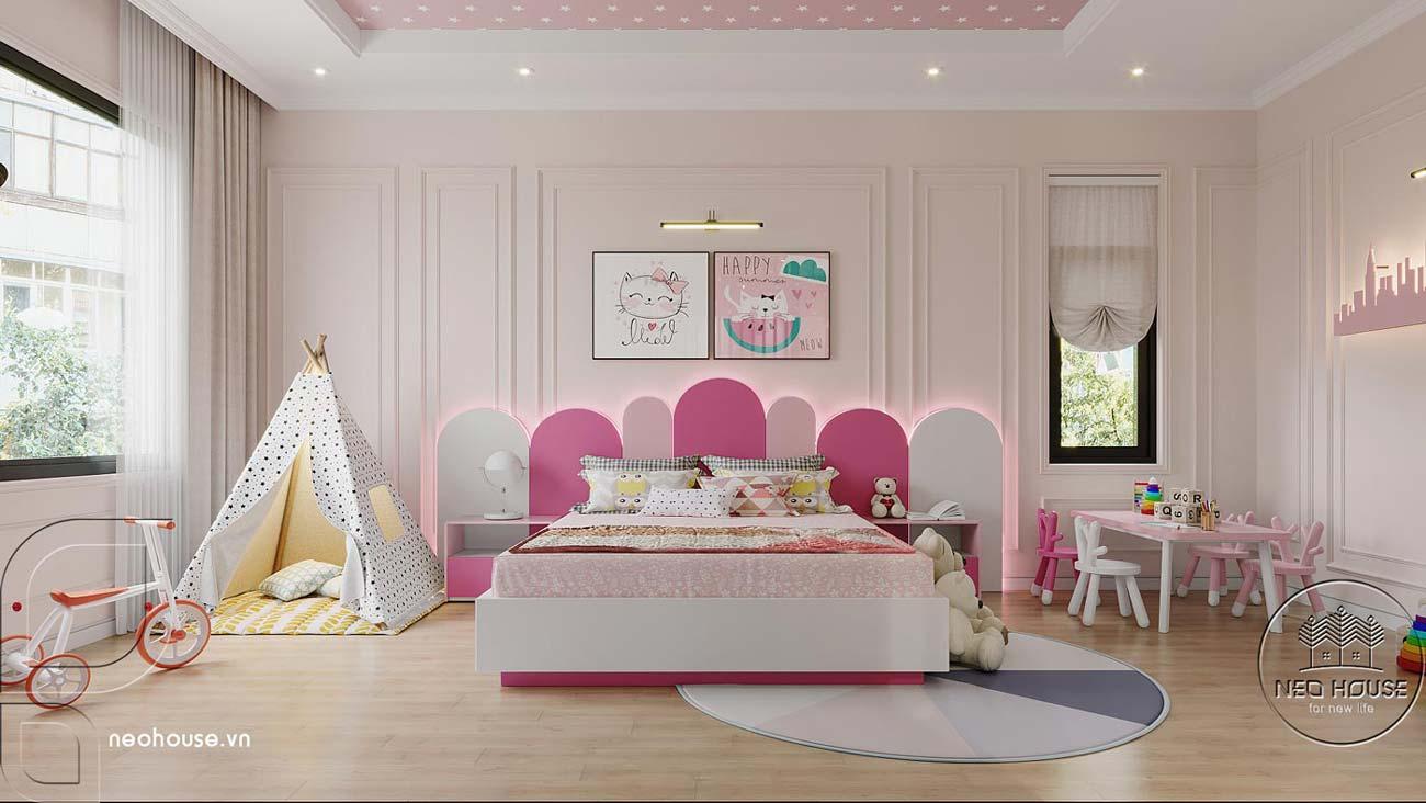 Thiết kế nội thất phòng ngủ bé gái nhà biệt thự 4 tầng đẹp 7x15m tại Đà Nẵng