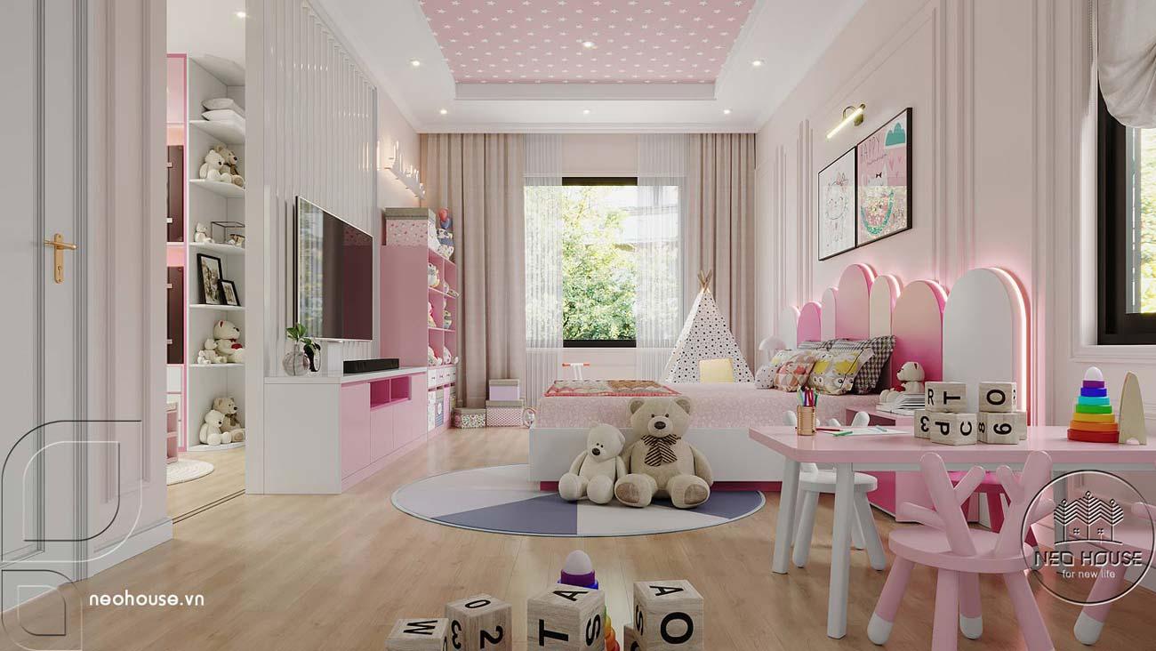 Phối cảnh thiết kế nội thất biệt thự tân cổ điển đẹp 4 tầng cho phòng ngủ Master 02. Ảnh 2