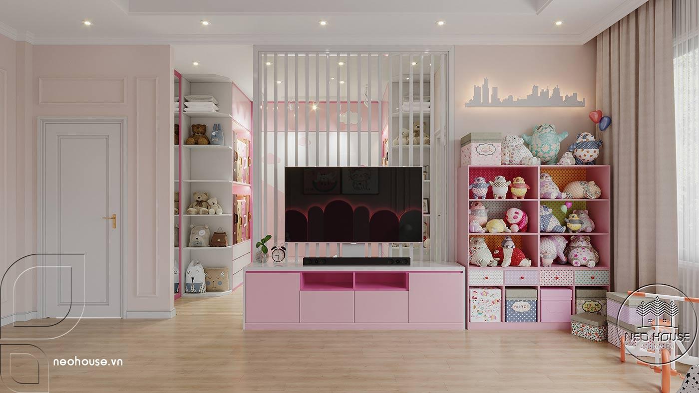 Phối cảnh thiết kế nội thất biệt thự tân cổ điển đẹp 4 tầng cho phòng ngủ Master 02. Ảnh 3
