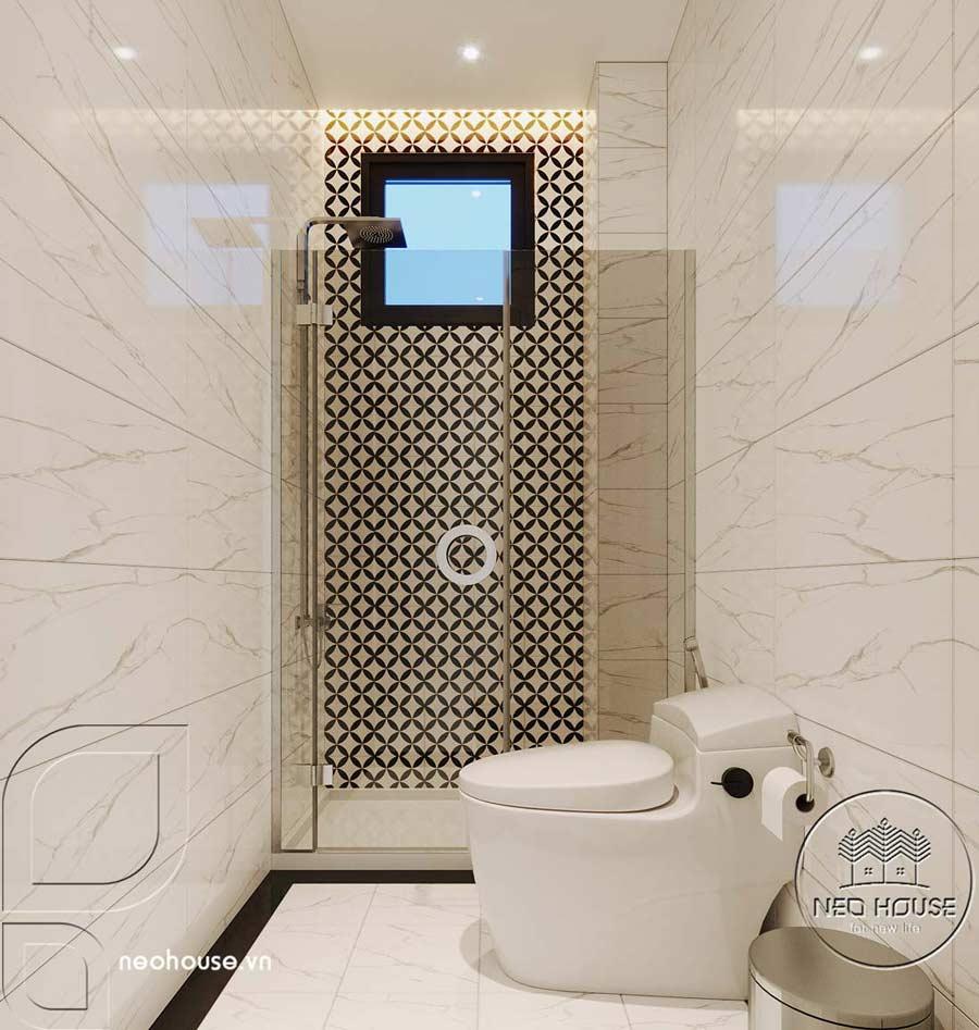 Phối cảnh thiết kế nội thất biệt thự tân cổ điển đẹp 4 tầng cho phòng vệ sinh và nhà tắm của phòng ngủ Master 02. Ảnh 1