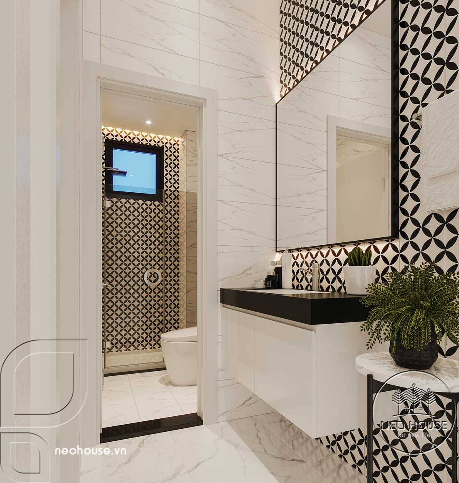 Phối cảnh thiết kế nội thất biệt thự tân cổ điển đẹp 4 tầng cho phòng vệ sinh và nhà tắm của phòng ngủ Master 02. Ảnh 2
