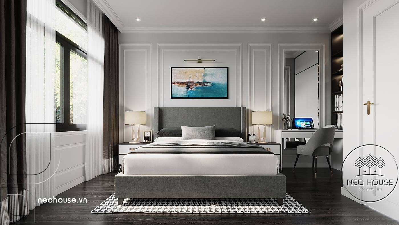 Phối cảnh thiết kế nội thất biệt thự tân cổ điển đẹp 4 tầng cho phòng ngủ 01. Ảnh 1