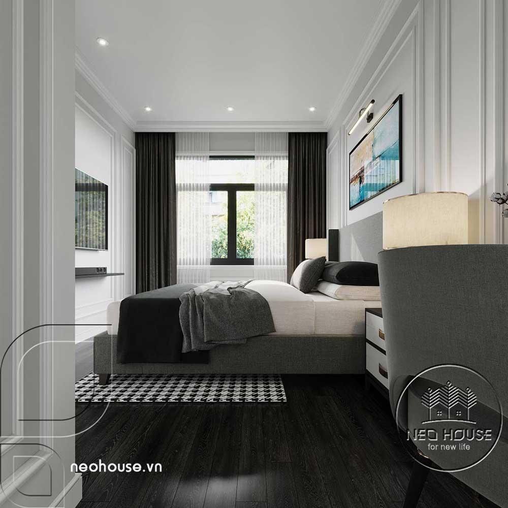 Phối cảnh thiết kế nội thất biệt thự tân cổ điển đẹp 4 tầng cho phòng ngủ 01. Ảnh 3