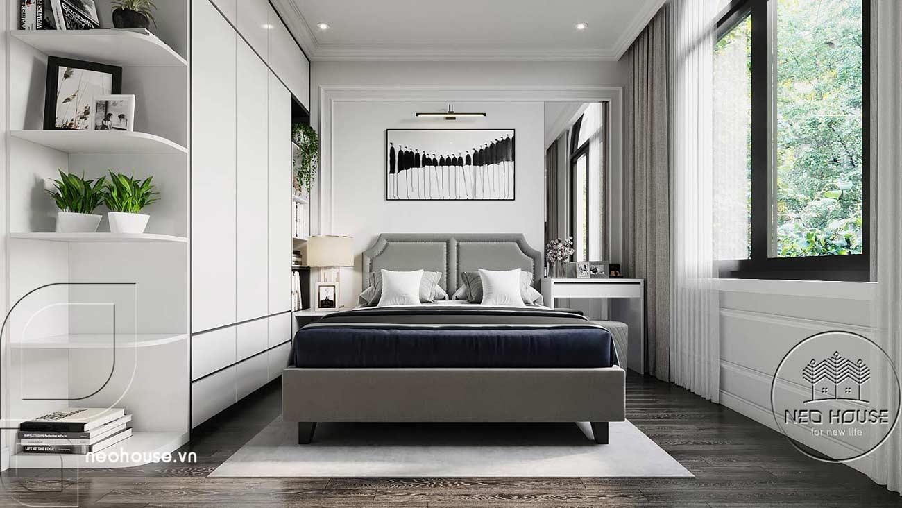 Phối cảnh thiết kế nội thất biệt thự tân cổ điển đẹp 4 tầng cho phòng ngủ 02. Ảnh 1