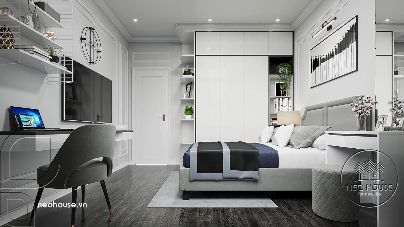 Phối cảnh thiết kế nội thất biệt thự tân cổ điển đẹp 4 tầng cho phòng ngủ 02. Ảnh 2