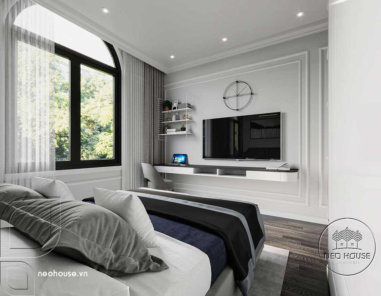 Phối cảnh thiết kế nội thất biệt thự tân cổ điển đẹp 4 tầng cho phòng ngủ 02. Ảnh 3